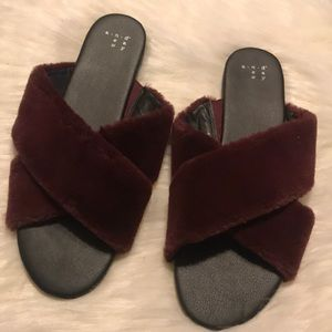 Burgundy furry flat sandals